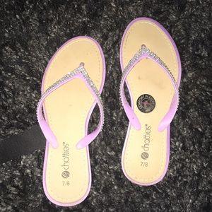 Chatties🌟 Flip-Flop Sandals w/ Rhinestones Sz 7/8